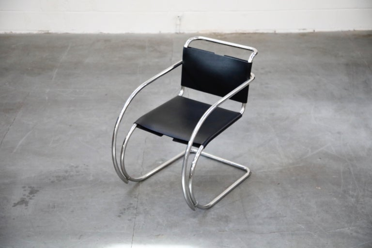 American Pair of MR20 Armchairs by Ludwig Mies van der Rohe for Knoll, Signed For Sale