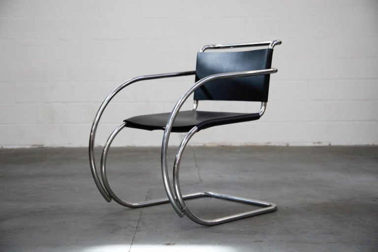 Pair of MR20 Armchairs by Ludwig Mies van der Rohe for Knoll, Signed In Excellent Condition For Sale In Los Angeles, CA