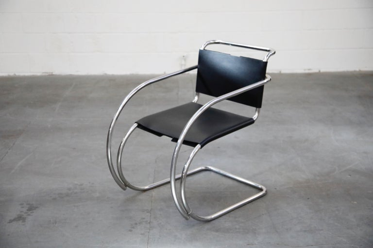 Late 20th Century Pair of MR20 Armchairs by Ludwig Mies van der Rohe for Knoll, Signed For Sale