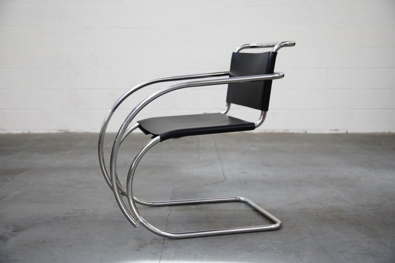 Leather Pair of MR20 Armchairs by Ludwig Mies van der Rohe for Knoll, Signed For Sale