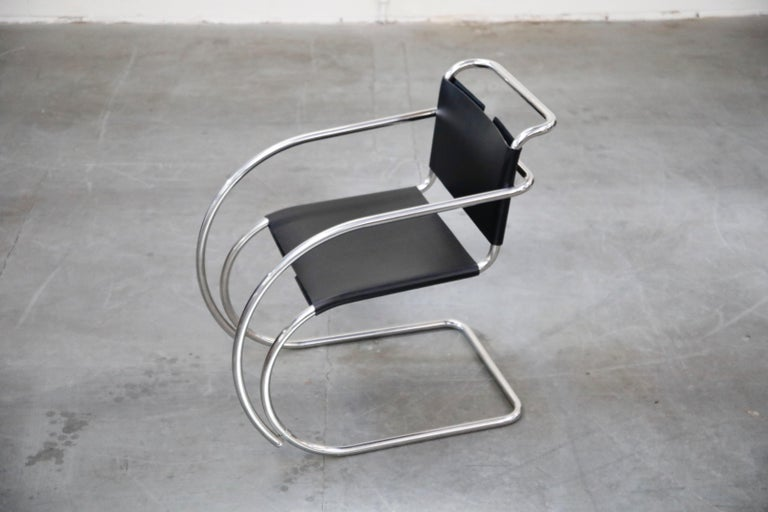 Pair of MR20 Armchairs by Ludwig Mies van der Rohe for Knoll, Signed For Sale 1