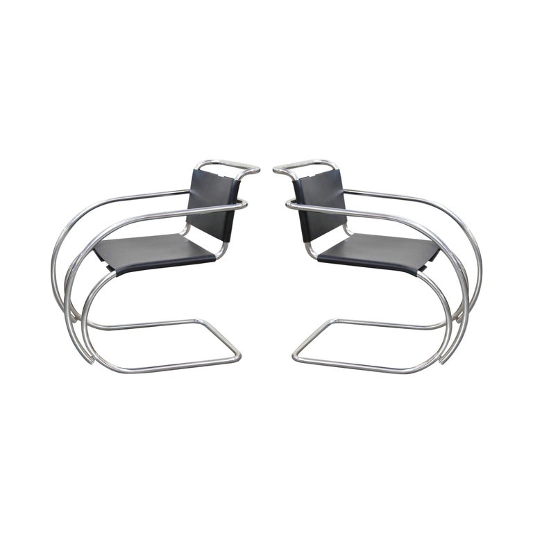 Pair of MR20 Armchairs by Ludwig Mies van der Rohe for Knoll, Signed For Sale