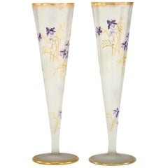 Pair of Mt. Joye Cameo Glass Tall Trumpet Vases with Violets & Gold Decoration