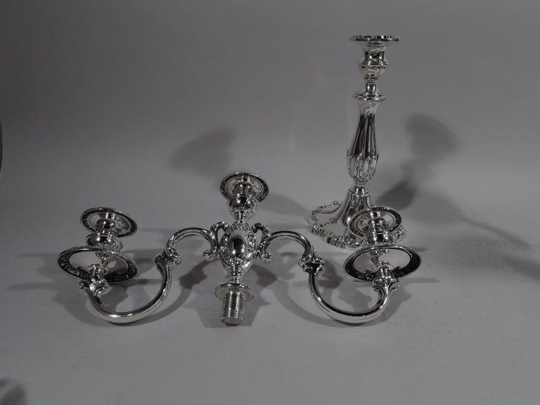 American Pair of Mueck-Carey Rochambeau 3-Light Sterling Silver Candelabra For Sale