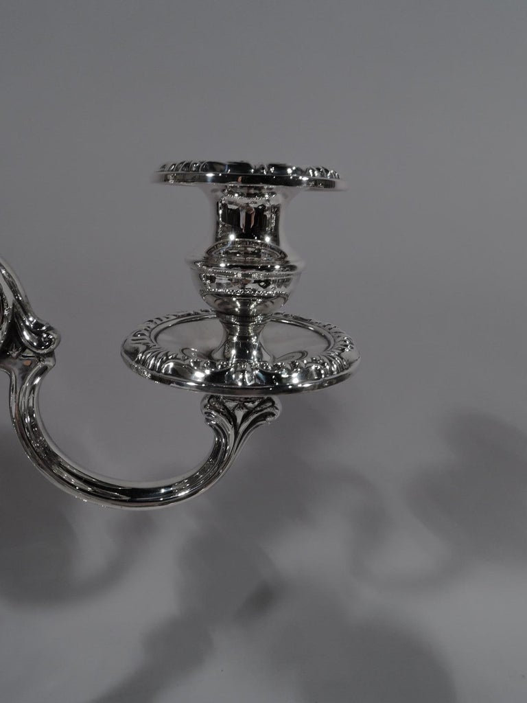 20th Century Pair of Mueck-Carey Rochambeau 3-Light Sterling Silver Candelabra For Sale