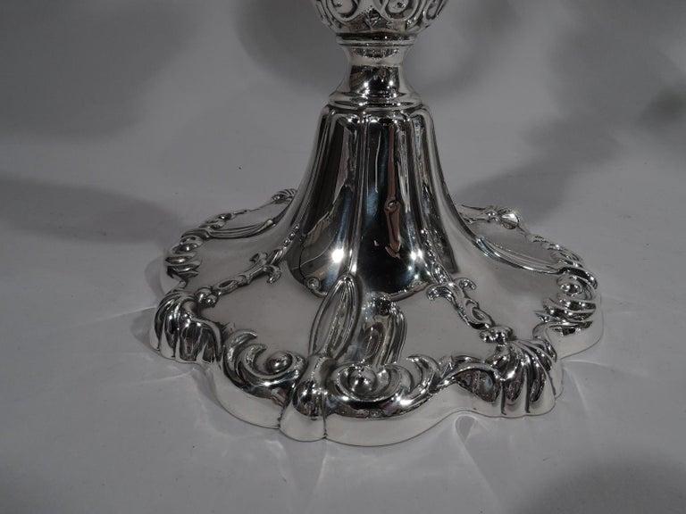 Pair of Mueck-Carey Rochambeau 3-Light Sterling Silver Candelabra For Sale 2