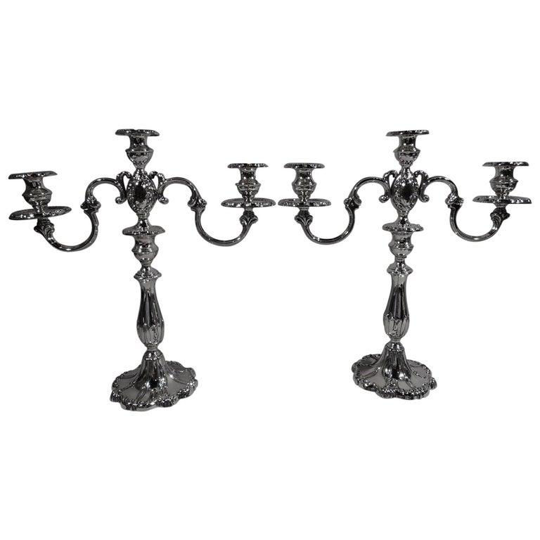 Pair of Mueck-Carey Rochambeau 3-Light Sterling Silver Candelabra For Sale