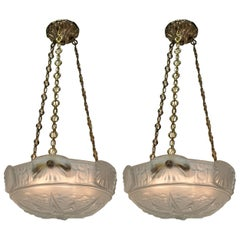 Pair of Muller Freres Art Deco Glass and Bronze Chandelier