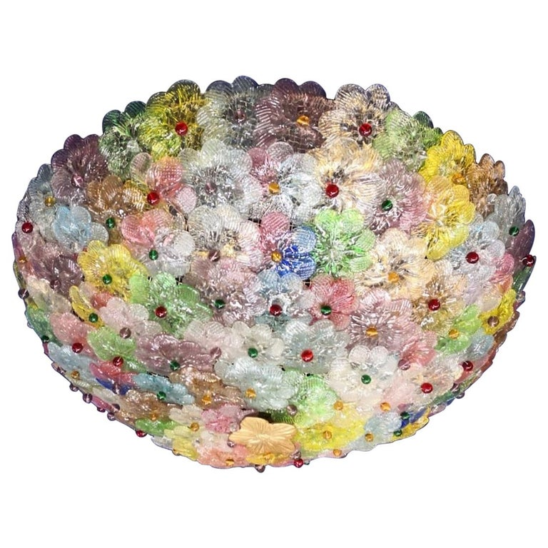 Amazing Mid-Century Modern hand blown Italian flush mount chandelier featuring overlapping multi-color crystal flowers, mounted on a webbed white painted frame.  Measures: Height 9.45 in. (24 cm). Diameter 23.62 in. (60 cm). 5 x E27 \ 4 watt
