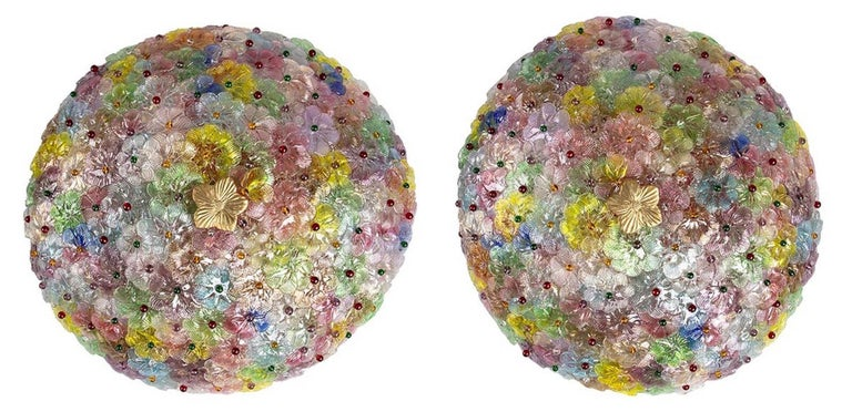 Mid-Century Modern Pair of Multi-Color Flowers Basket Murano Glass Ceiling Light For Sale