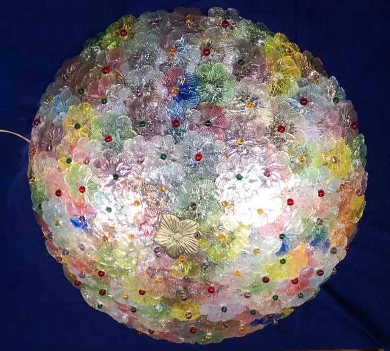 Pair of Multi-Color Flowers Basket Murano Glass Ceiling Light In Excellent Condition For Sale In Rome, IT