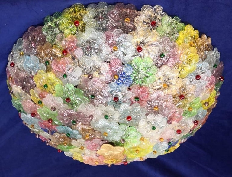 Blown Glass Pair of Multi-Color Flowers Basket Murano Glass Ceiling Light For Sale