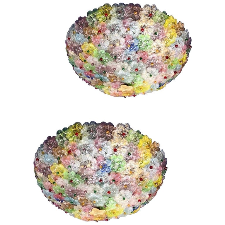 Pair of Multi-Color Flowers Basket Murano Glass Ceiling Light For Sale