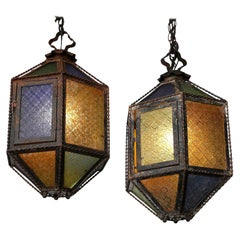 Pair of Multi-Color Glass and Tole Lanterns