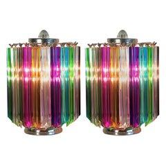 Pair of Multi-Color Quadriedri Table Lamp, Murano, 1990s