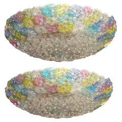 Pair of Multi-Color Venetian Flower Glass Ceiling Light