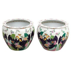 Pair of Multi Colored Painted Chinese Fish Bowls