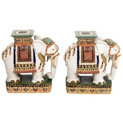 Pair of Multicolored Porcelain Elephant Garden Seats