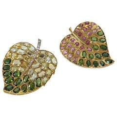 René Boivin Pair of Multi-Gemstone 'Lilac Leaf' Brooches