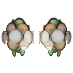 Pair of Multicolor Disc Chandeliers by Vistosi, Murano, 1970s