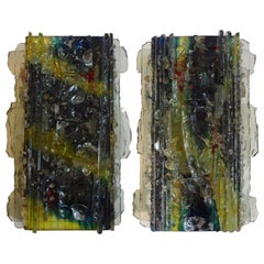 Pair of Multicolored Applied Glass Sconces by A. Lankhorst for RAAK Amsterdam