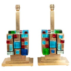 Pair of Multicolored Murano Glass and Brass Geometric Square Lamps, Italy, 2019