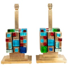 Pair of Multicolored Murano Glass and Brass Geometric Square Lamps, Italy