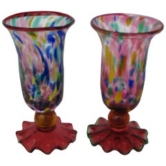 "Pair of Multicolored Murano Goblets/Glasses with ""Fazzoletto"" Base"