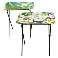 Pair of Multicolored 1970s Side Tables by Josef Frank for Svenskt Tenn, Sweden