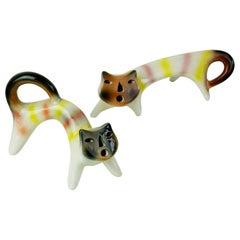Pair of Multicoloured Italian Midcentury Ceramic Cats by Roberto Rigon
