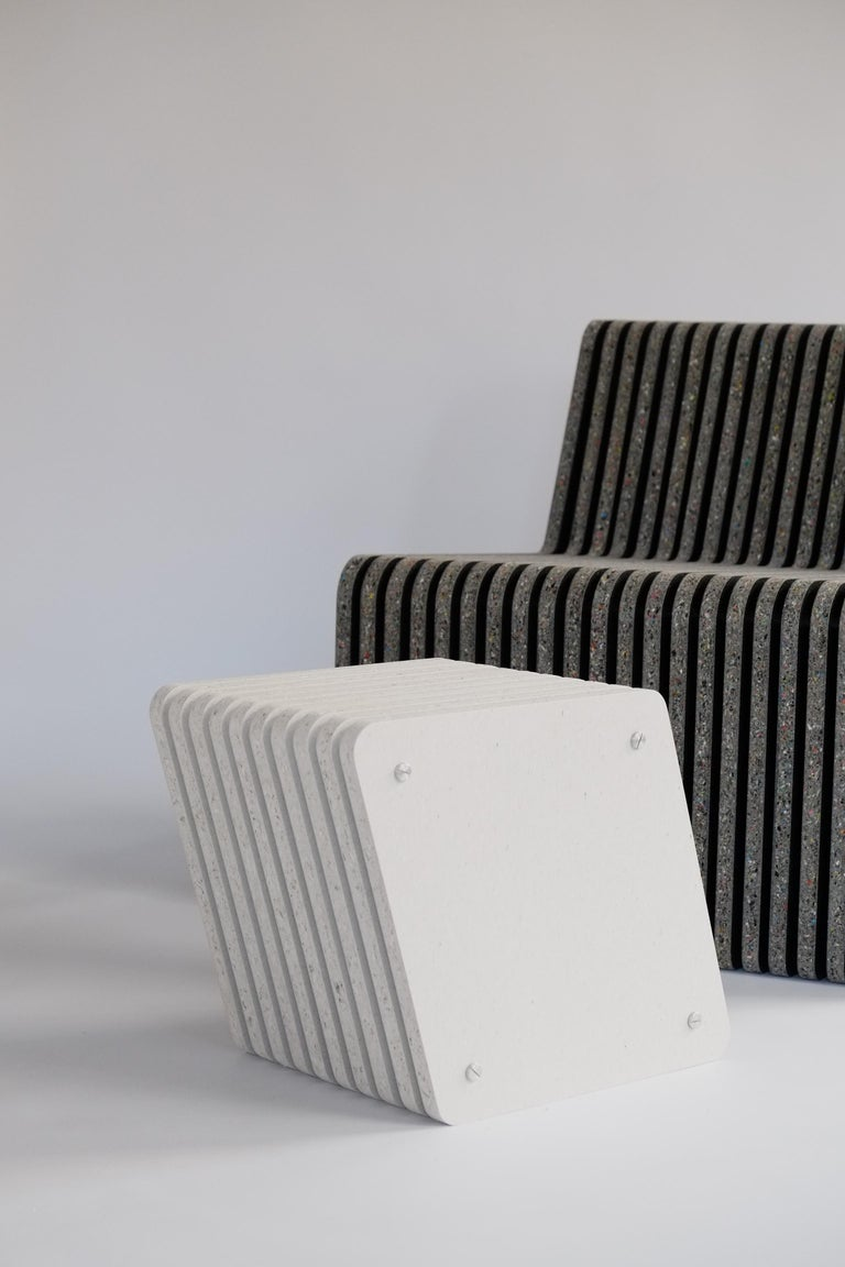Pair of Sustainable Black Side Tables made in Recycled Plastic - Jää Cube For Sale 4