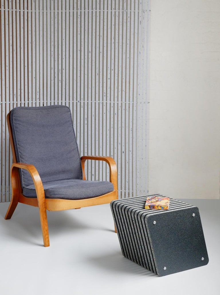 Our latest addition to the Jää series: the Jää cube is a multifunctional side table. The Jää cube has a sculptural design with a beautiful tactile surface and small, satin polished aluminium spacers and end nuts. It has an angled profile, which