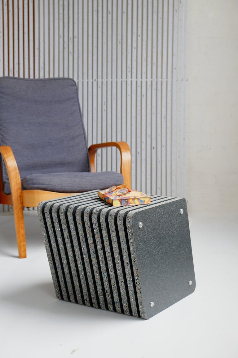 Organic Modern Pair of Sustainable Black Side Tables made in Recycled Plastic - Jää Cube For Sale