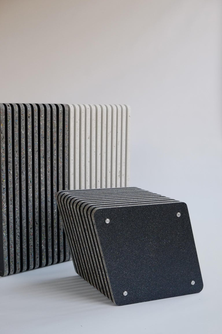 Aluminum Pair of Sustainable Black Side Tables made in Recycled Plastic - Jää Cube For Sale