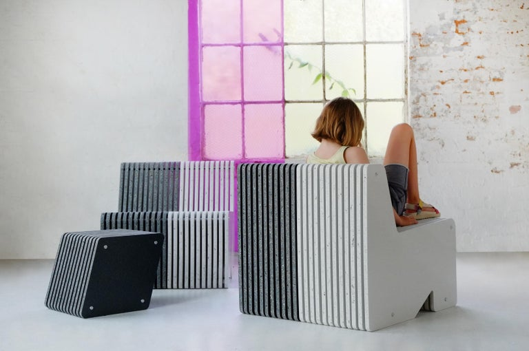 Pair of Sustainable Black Side Tables made in Recycled Plastic - Jää Cube For Sale 1