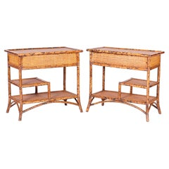 Pair of Multitiered Faux Burnt Bamboo Stands