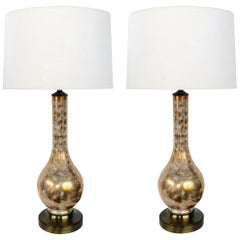 Pair of Murano 1960s Gold and White Glazed Bottle-form Lamps with Colored Fleck