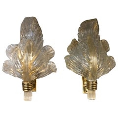 Pair of Murano 24-Karat Gold Flaked Crystal Wall Lights Leaf by Segusso, 1950s