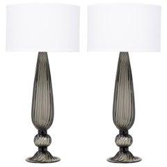 """Pair of Murano """"Acciaio"""" Blown Glass Lamps"""