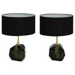Pair of Murano and Brass Italian Table Lamps