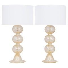 """Pair of Murano """"Avventurina"""" Glass Lamps"""
