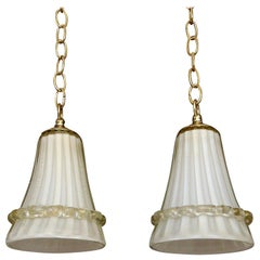 Pair of Murano Glass Cream and Gold Ceiling Light Pendants