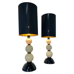 Pair of Murano Black and Ivory Glass Table Lamp