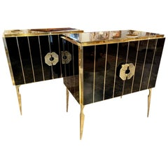 Pair of Murano Black Glass and Brass Side Tables