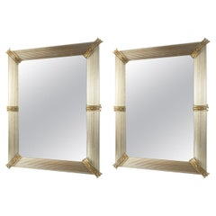 Pair of Murano Blown Mirrors in Taupe, Contemporary