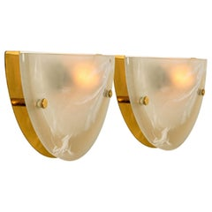 Pair of Murano Brass and Glass Wall Lights, Hillebrand, 1975