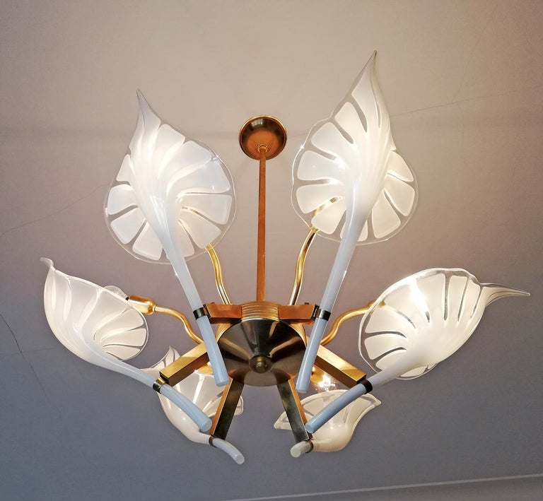 Hollywood Regency Pair of Murano Calla Lily Chandelier by Franco Luce, Art Glass and Gilt Brass