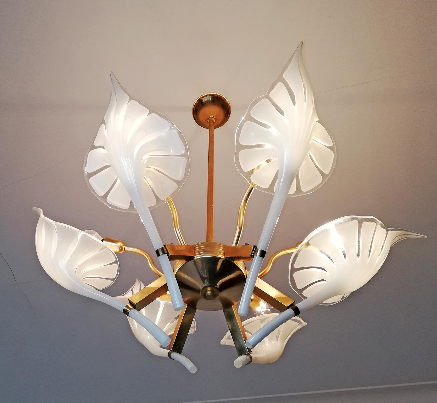 Hollywood Regency Pair Of Murano Calla Lily Chandelier By Franco Luce, Art  Glass And Gilt