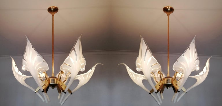 Italian Pair of Murano Calla Lily Chandelier by Franco Luce, Art Glass and Gilt Brass