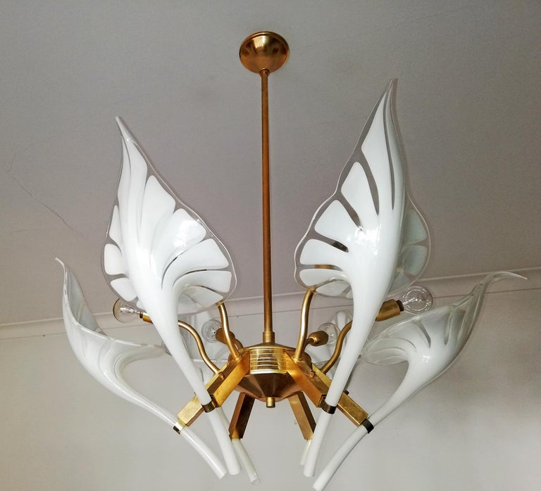 Late 20th Century Pair of Murano Calla Lily Chandelier by Franco Luce, Art Glass and Gilt Brass